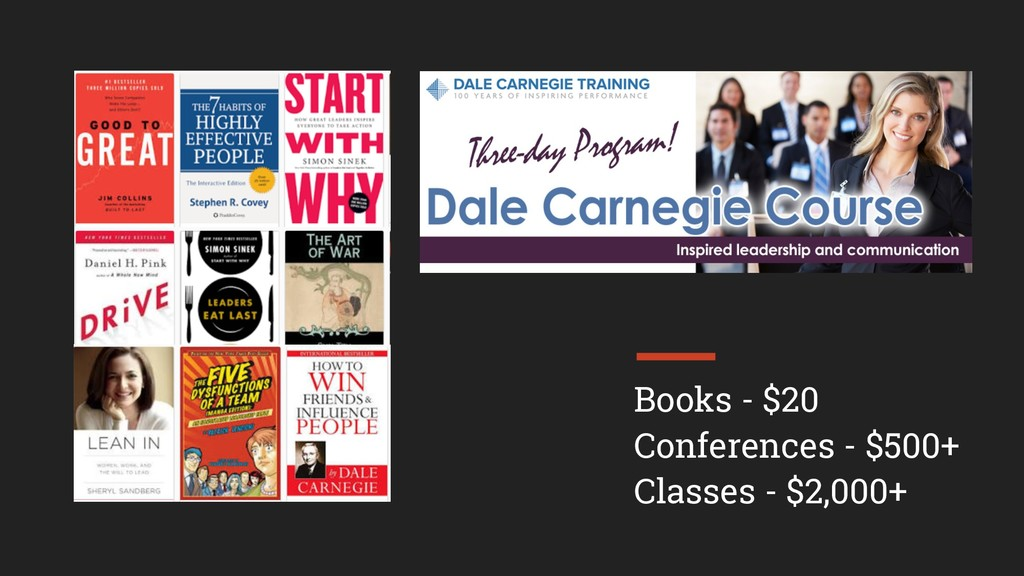 Books - $20 Conferences - $500+ Classes - $2,00...