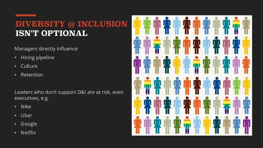 DIVERSITY @ INCLUSION ISN'T OPTIONAL Managers d...
