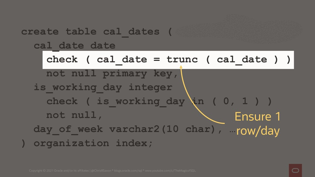 create table cal_dates ( cal_date date check ( ...