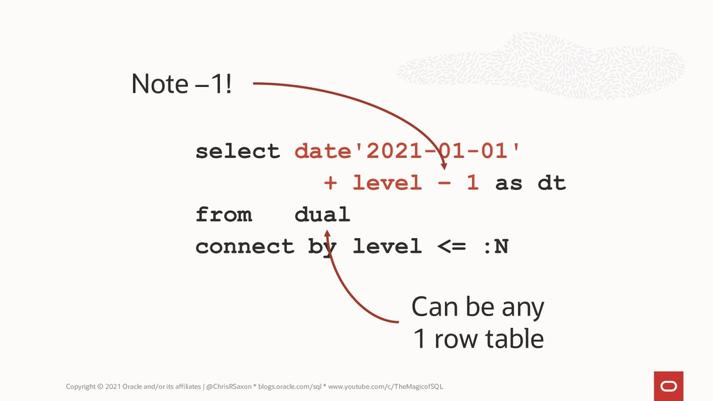 select date'2021-01-01' + level – 1 as dt from ...