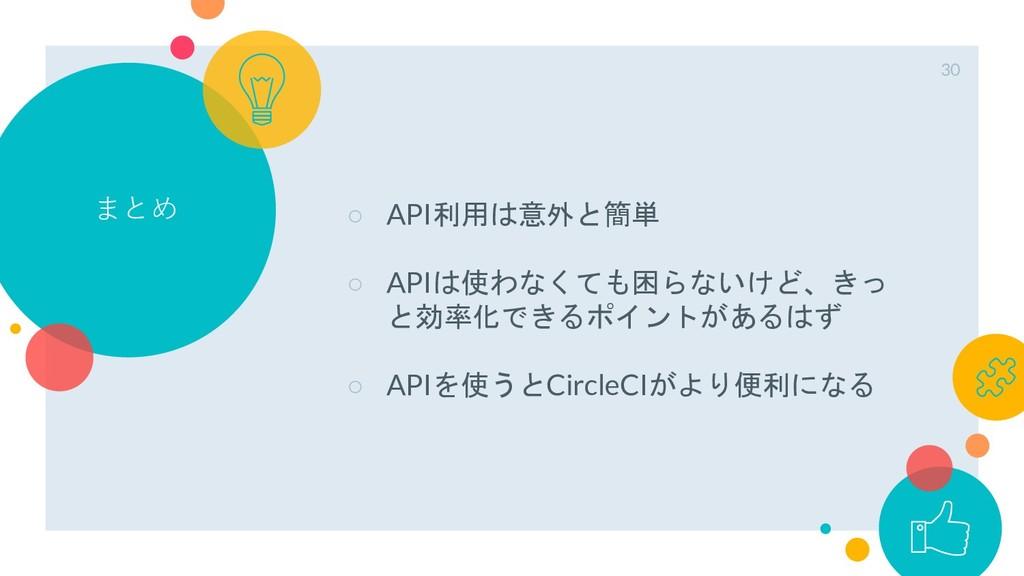 まとめ ○ API利用は意外と簡単 ○ APIは使わなくても困らないけど、きっ と効率化できる...