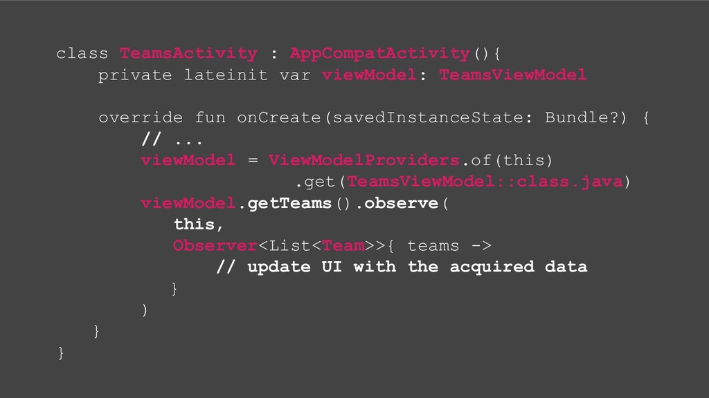 class TeamsActivity : AppCompatActivity(){ priv...