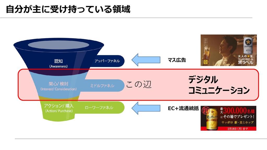 この辺 マス広告 デジタル コミュニケーション EC+流通統括 自分が主に受け持っている領域