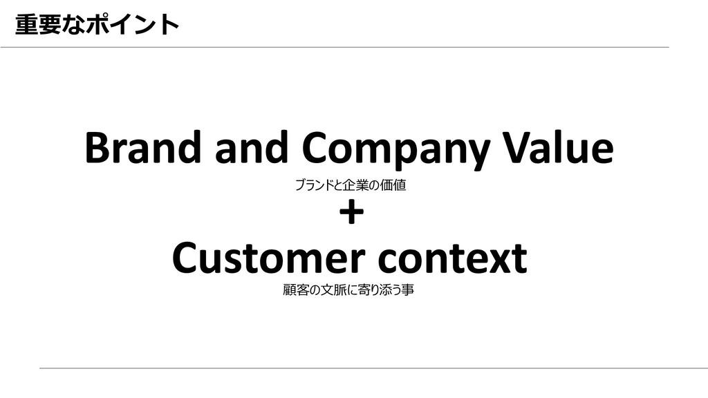 重要なポイント Brand and Company Value Customer contex...