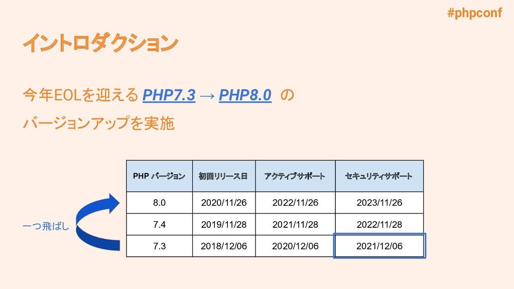 #phpconf イントロダクション 今年EOLを迎える PHP7.3 → PHP8.0 の ...
