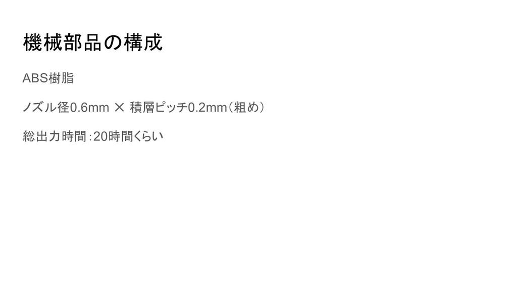 機械部品の構成 ABS樹脂 ノズル径0.6mm ✕ 積層ピッチ0.2mm(粗め) 総出力時間:...
