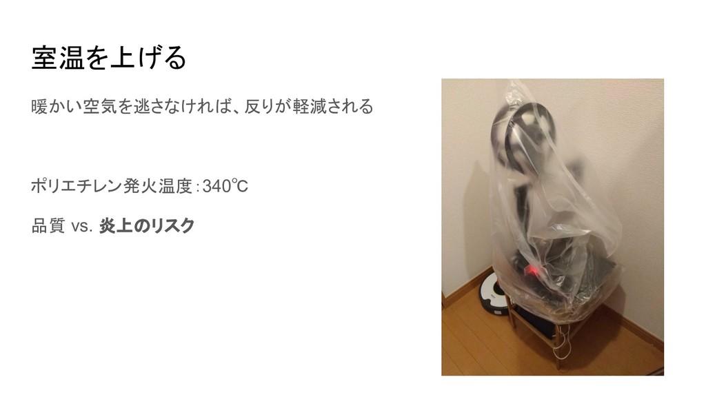 室温を上げる 暖かい空気を逃さなければ、反りが軽減される ポリエチレン発火温度:340℃ 品質...