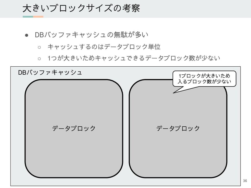 ● DBバッファキャッシュの無駄が多い ○ キャッシュするのはデータブロック単位 ○ 1つが大...