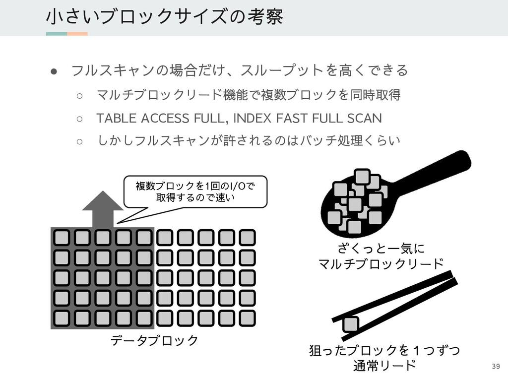 ● フルスキャンの場合だけ、スループットを高くできる ○ マルチブロックリード機能で複数ブロッ...
