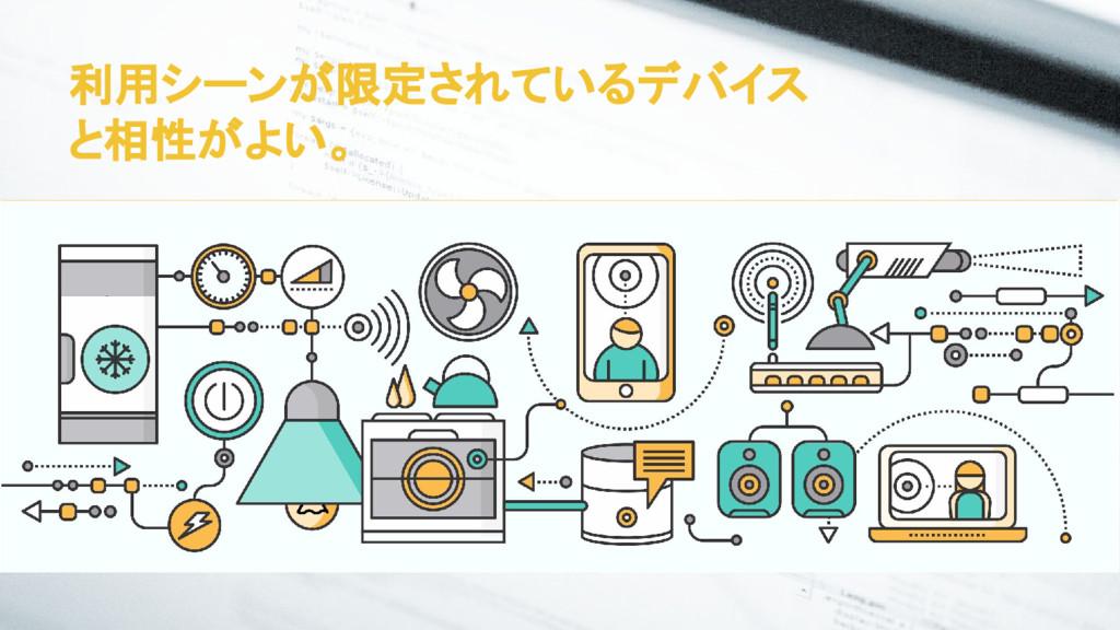 利用シーンが限定されているデバイス と相性がよい。