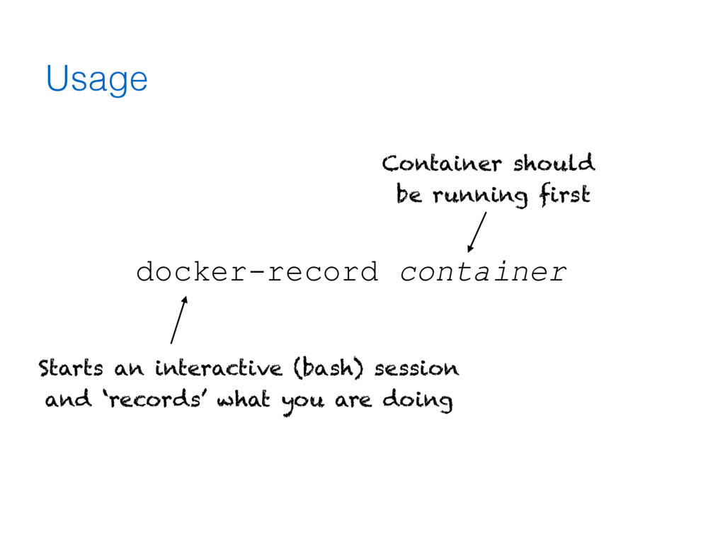 Usage docker-record container Container should ...