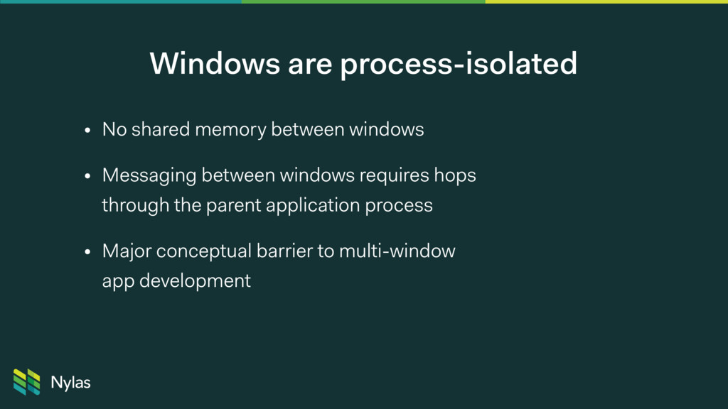 Windows are process-isolated • No shared memory...