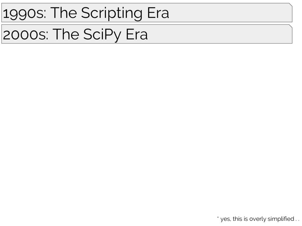 1990s: The Scripting Era 2000s: The SciPy Era *...