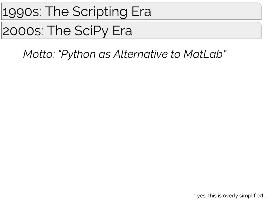 1990s: The Scripting Era 2000s: The SciPy Era M...
