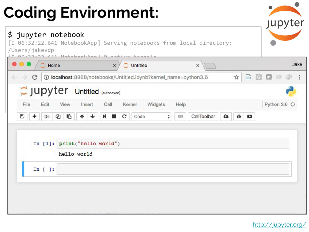Coding Environment: $ jupyter notebook [I 06:32...