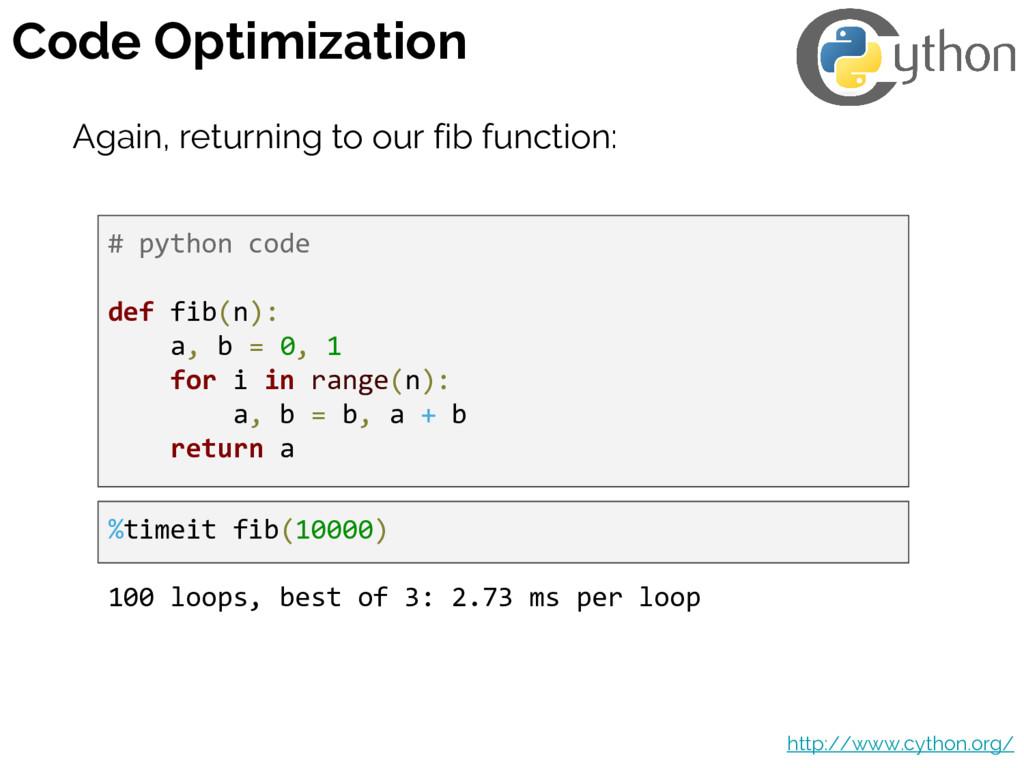 Code Optimization http://www.cython.org/ Again,...