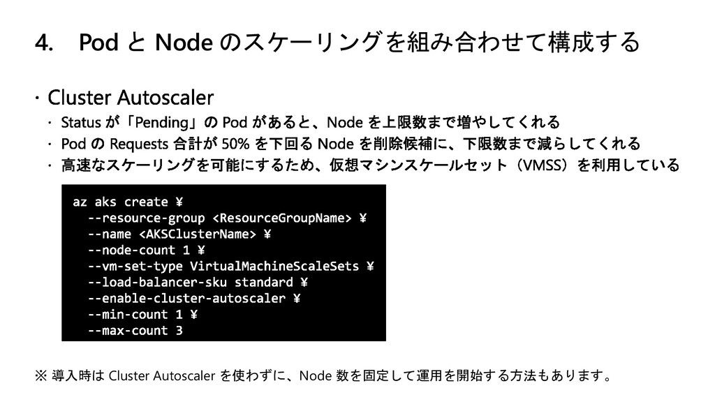 4. Pod と Node のスケーリングを組み合わせて構成する ※ 導入時は Cluster...