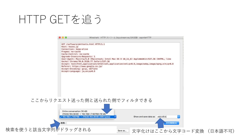 HTTP GETを追う ここからリクエスト送った側と送られた側でフィルタできる ⽂字化けはここ...