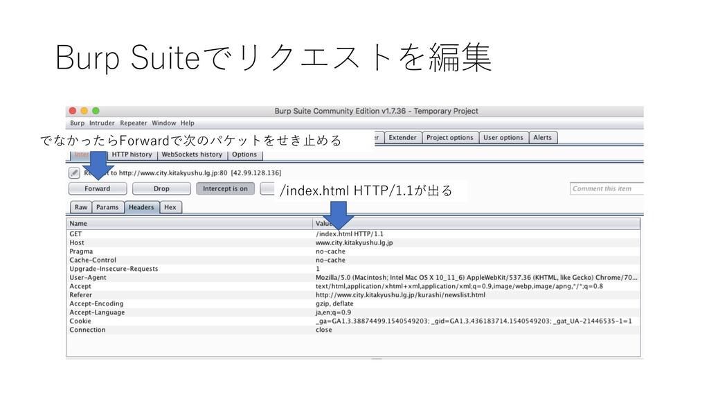 Burp Suiteでリクエストを編集 /index.html HTTP/1.1が出る でなか...