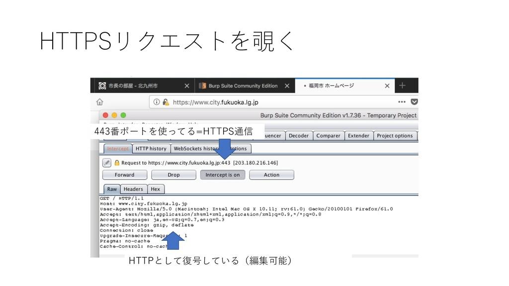 HTTPSリクエストを覗く 443番ポートを使ってる=HTTPS通信 HTTPとして復号してい...