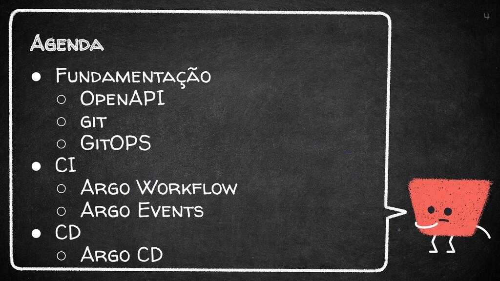 Agenda 4 ● Fundamentação ○ OpenAPI ○ git ○ GitO...