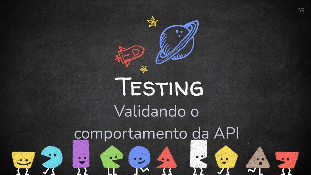 Testing Validando o comportamento da API 39