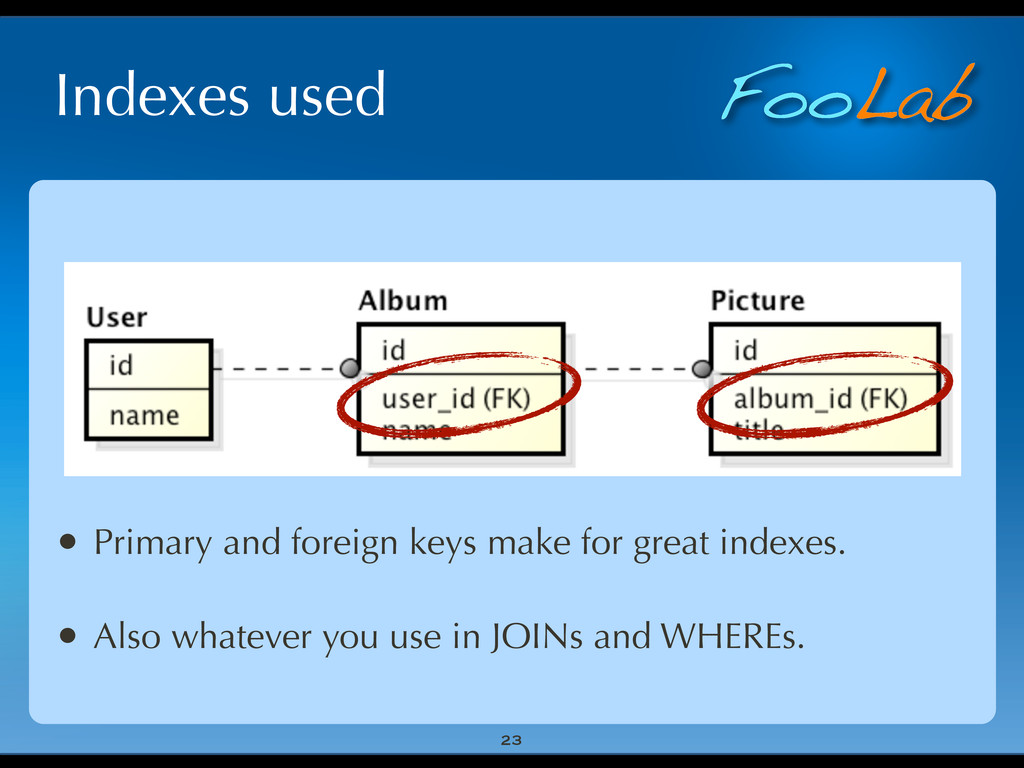 FooLab Indexes used 23 • Primary and foreign ke...