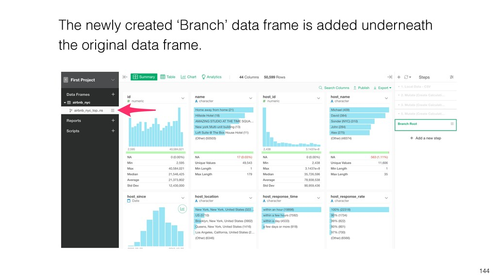 The newly created 'Branch' data frame is added ...