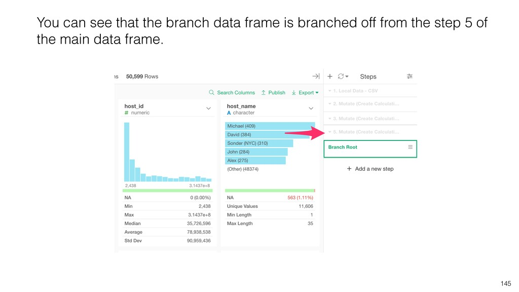 145 You can see that the branch data frame is b...