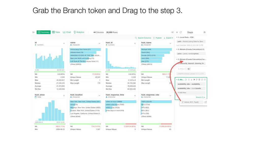 Grab the Branch token and Drag to the step 3.