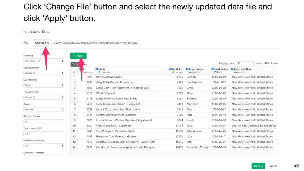 166 Click 'Change File' button and select the n...