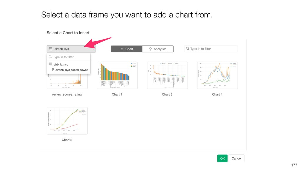 Select a data frame you want to add a chart fro...