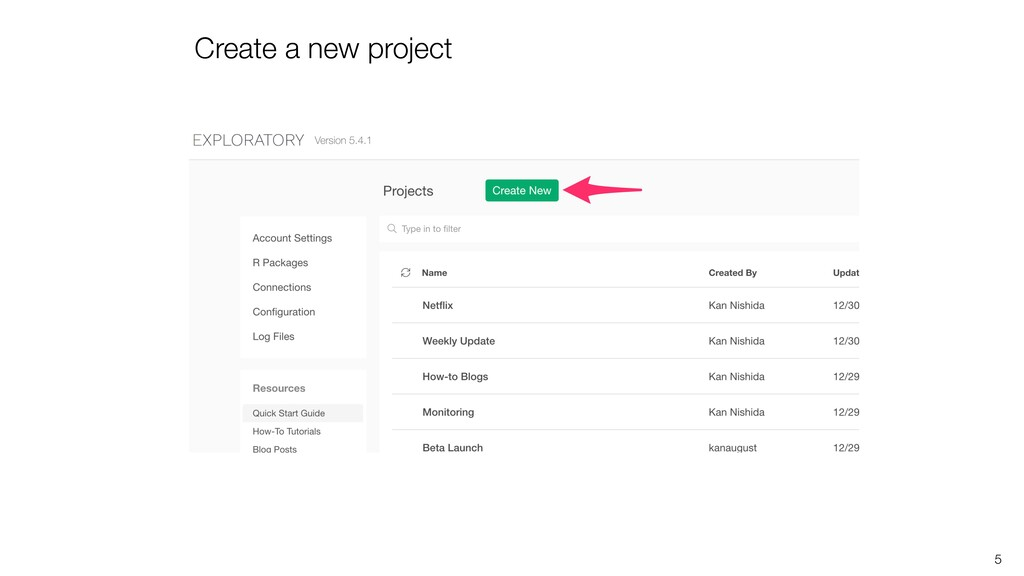 Create a new project 5
