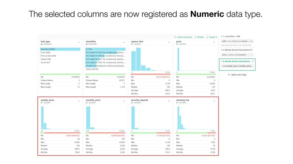 The selected columns are now registered as Nume...