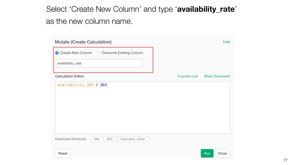 77 Select 'Create New Column' and type 'availab...