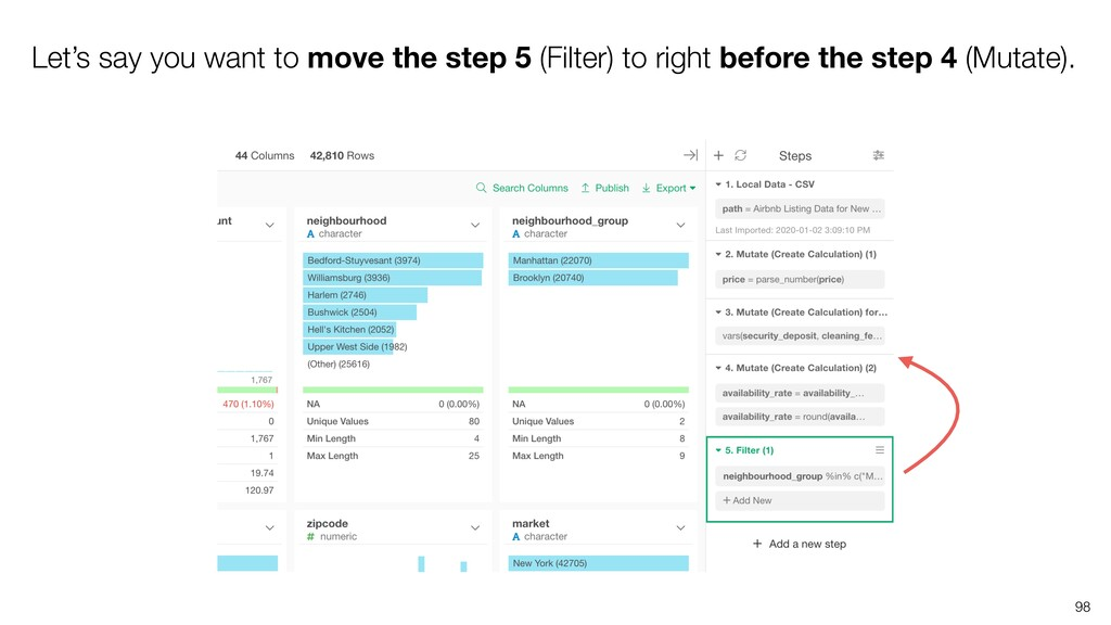 Let's say you want to move the step 5 (Filter) ...