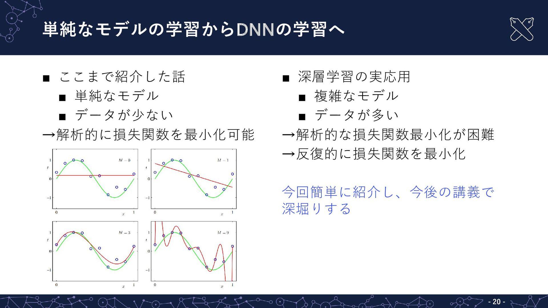 ここまで紹介した話  単純なモデル  データが少ない →解析的に損失関数を最小化可能 ...