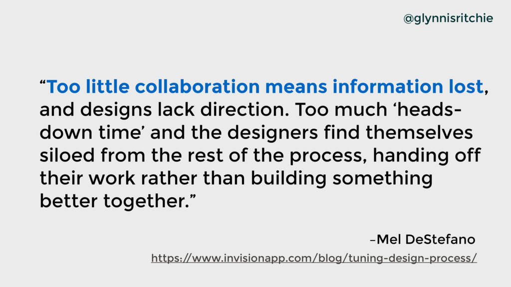 """@glynnisritchie """"Too little collaboration means..."""
