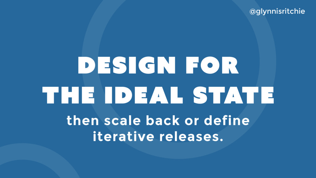 DESIGN FOR THE IDEAL STATE @glynnisritchie then...