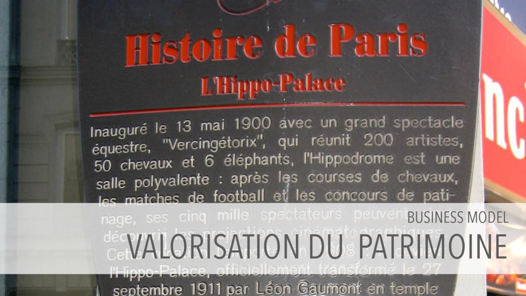 BUSINESS MODEL VALORISATION DU PATRIMOINE