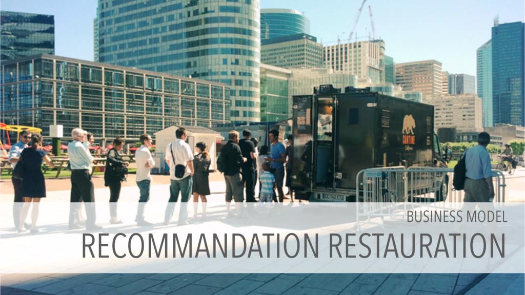 BUSINESS MODEL RECOMMANDATION RESTAURATION