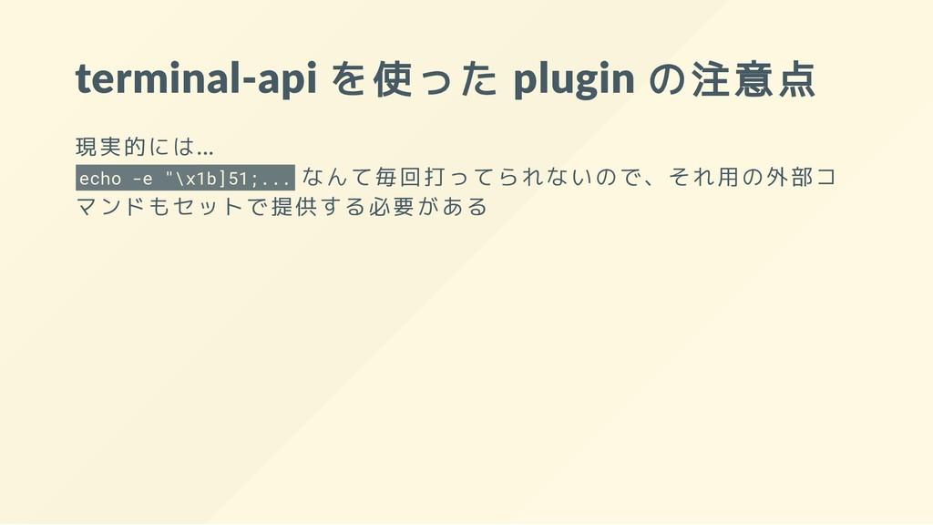 terminal-api を使った plugin の注意点 現実的には... echo -e ...