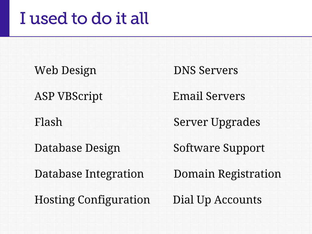 I used to do it all Web Design DNS Servers Emai...