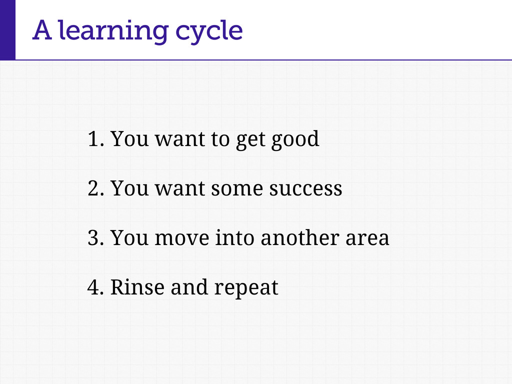 A learning cycle 1. You want to get good 2. You...
