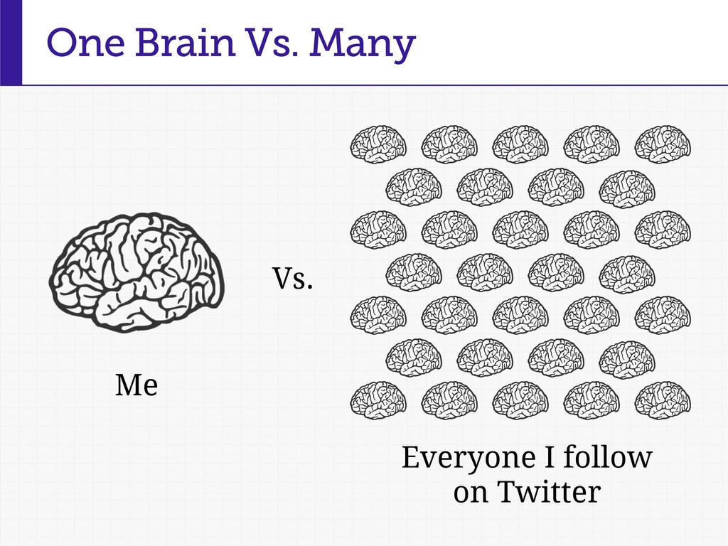 One Brain Vs. Many Me Vs. Everyone I follow on ...