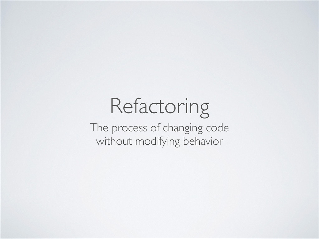 Refactoring The process of changing code withou...