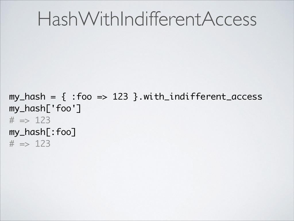 HashWithIndifferentAccess my_hash = { :foo => 1...