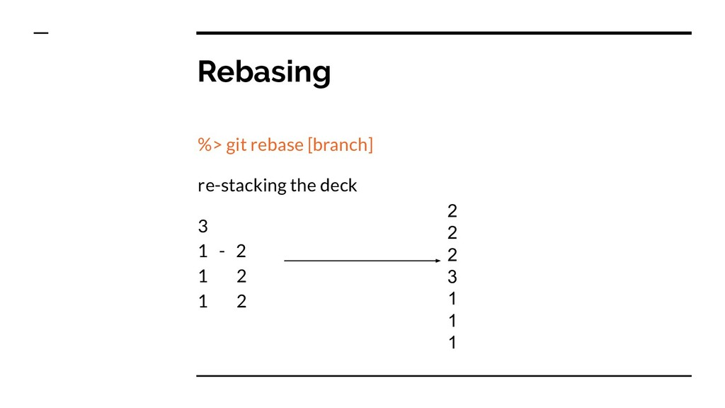 Rebasing %> git rebase [branch] re-stacking the...
