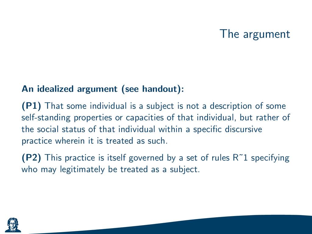 The argument An idealized argument (see handout...