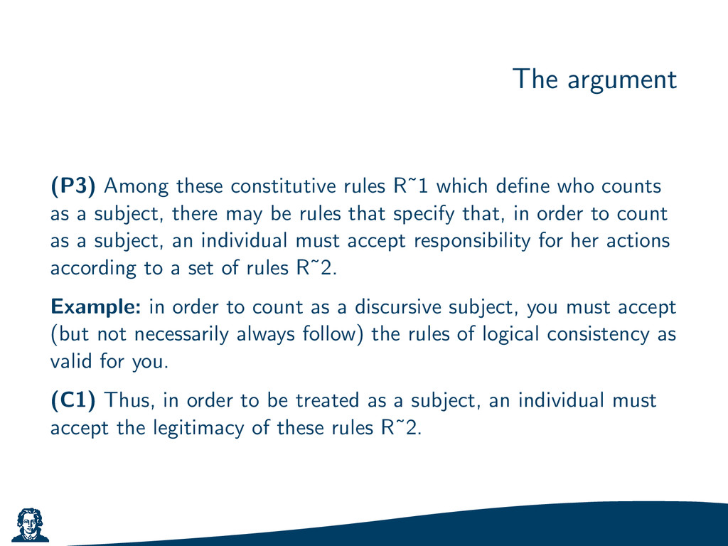 The argument (P3) Among these constitutive rule...